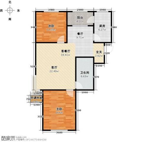 牡丹城2室1厅1卫1厨105.00㎡户型图