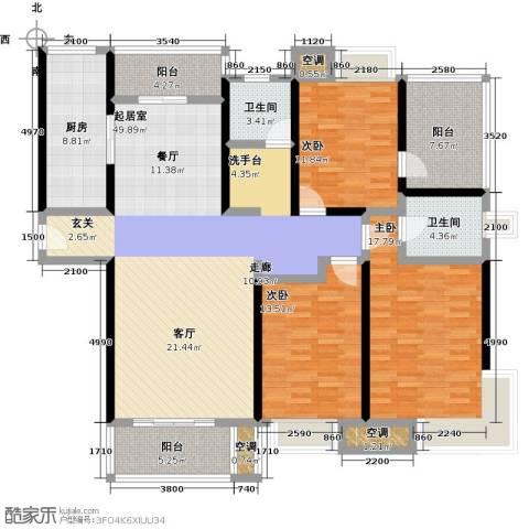 万里晶品苑3室0厅2卫1厨150.00㎡户型图