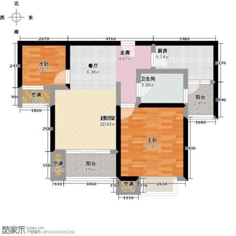 万里晶品苑2室0厅1卫1厨70.00㎡户型图