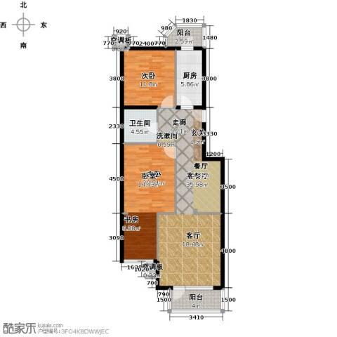 香湾(晶城秀府)2室1厅1卫1厨122.00㎡户型图