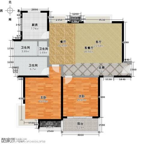 万里双子座2室1厅2卫1厨115.00㎡户型图