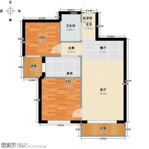 天麓花园2室0厅1卫1厨75.00㎡户型图