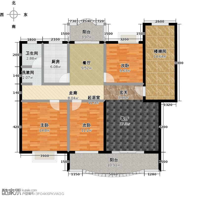 天龙花园116.52㎡三房两厅两卫户型