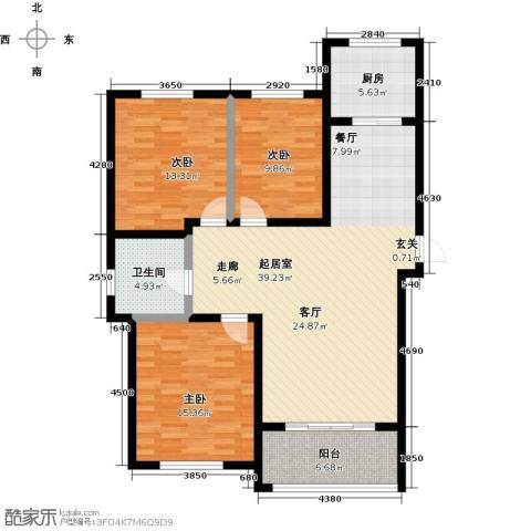 理工帝湖湾3室0厅1卫1厨109.00㎡户型图