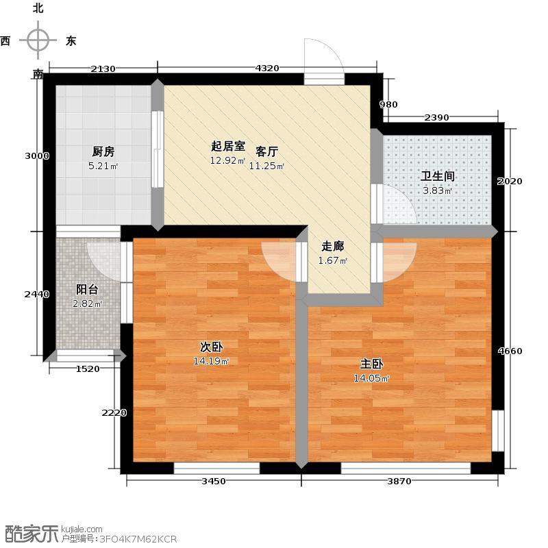 理工帝湖湾62.80㎡266#B户型2室2厅1卫