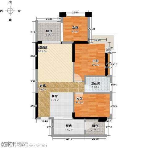 光耀荷兰小城3室0厅1卫1厨75.00㎡户型图