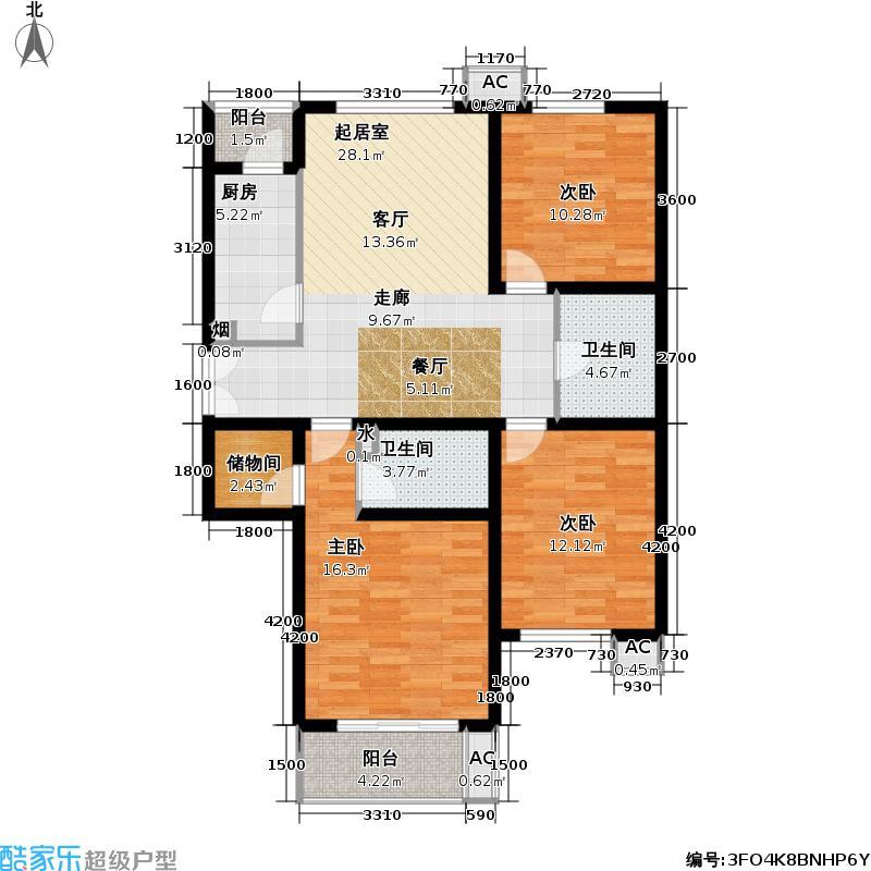 金隅・润景阁126.36㎡28号楼G户型三室二厅二卫户型
