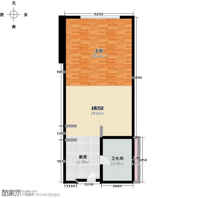 君誉江畔55.00㎡标房A户型1室1厅1卫