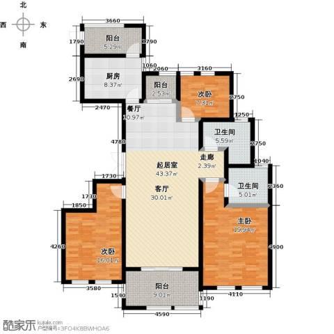 理工帝湖湾3室0厅2卫1厨140.00㎡户型图