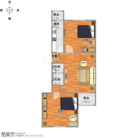 龙华园东区2室1厅2卫1厨87.00㎡户型图