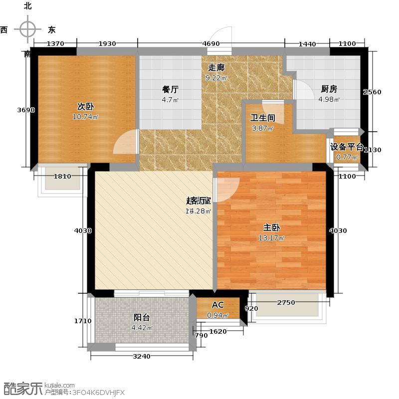 锦绣天地75.87㎡1#标准层左二B户型75.87平米户型2室2厅1卫
