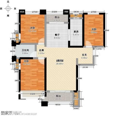 美的城3室0厅1卫1厨130.00㎡户型图