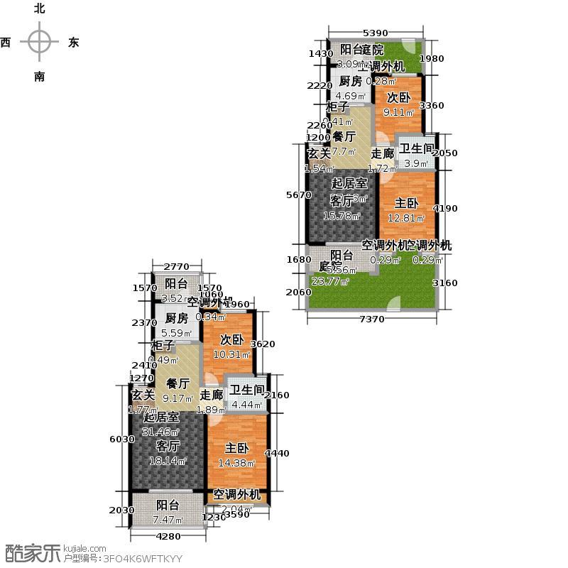 绿地蓝海庭(绿地东岸涟城一期)H4-a、b房型,二室二厅一卫,约94、88平方米户型
