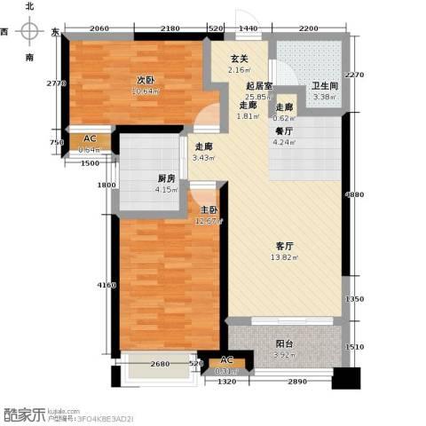 美的城2室0厅1卫1厨91.00㎡户型图