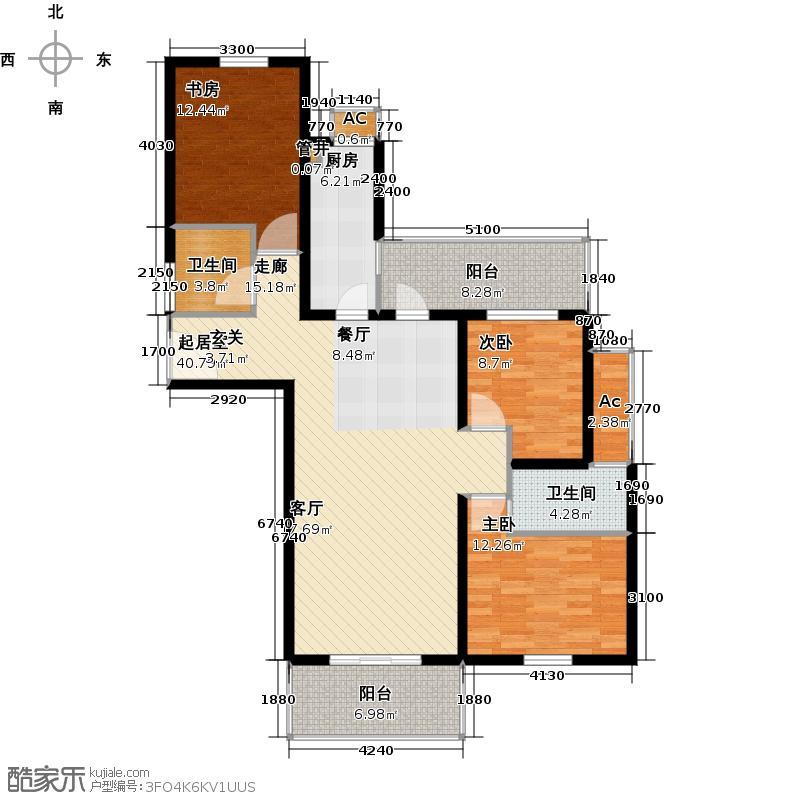 上海康城房型: 三房; 面积段: 120 -130 平方米; 户型