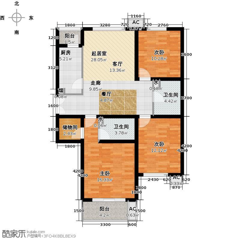 金隅・润景阁126.36㎡28号楼G户型三室二厅一厨二卫户型