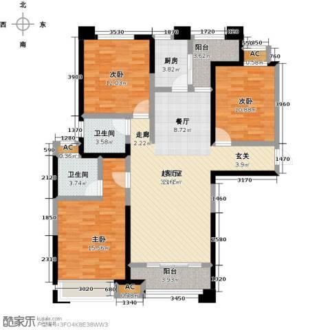 美的城3室0厅2卫1厨138.00㎡户型图