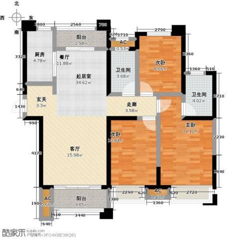 美的城3室0厅2卫1厨131.00㎡户型图