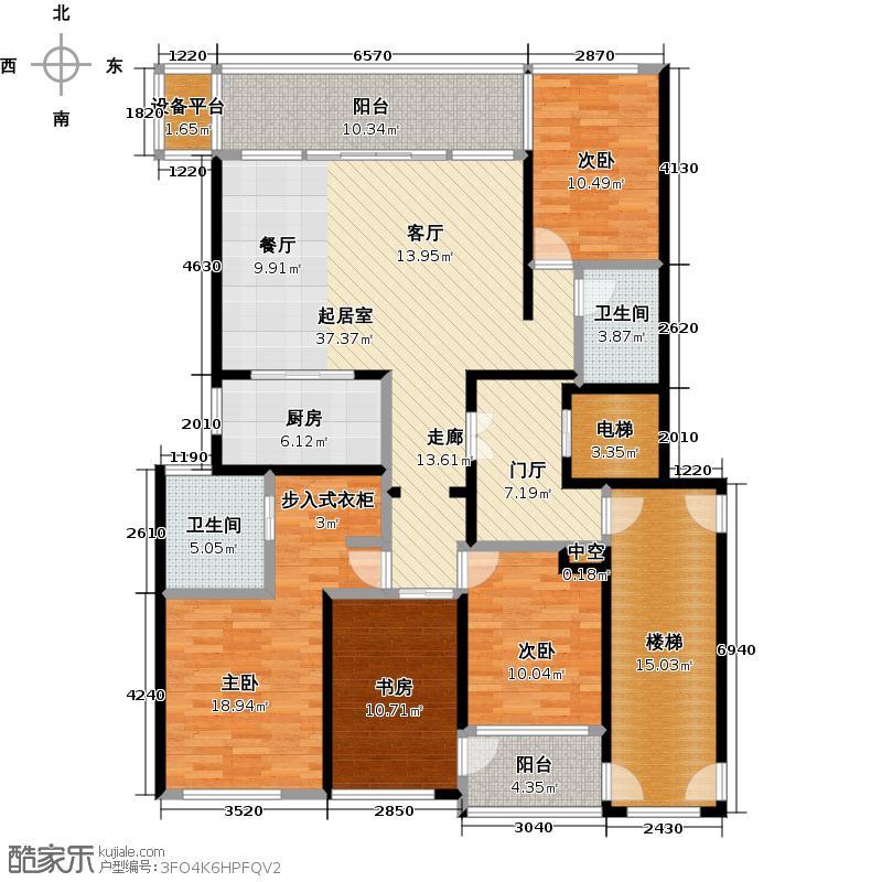 时代滨江165.00㎡165平米悦江户型4室2厅2卫