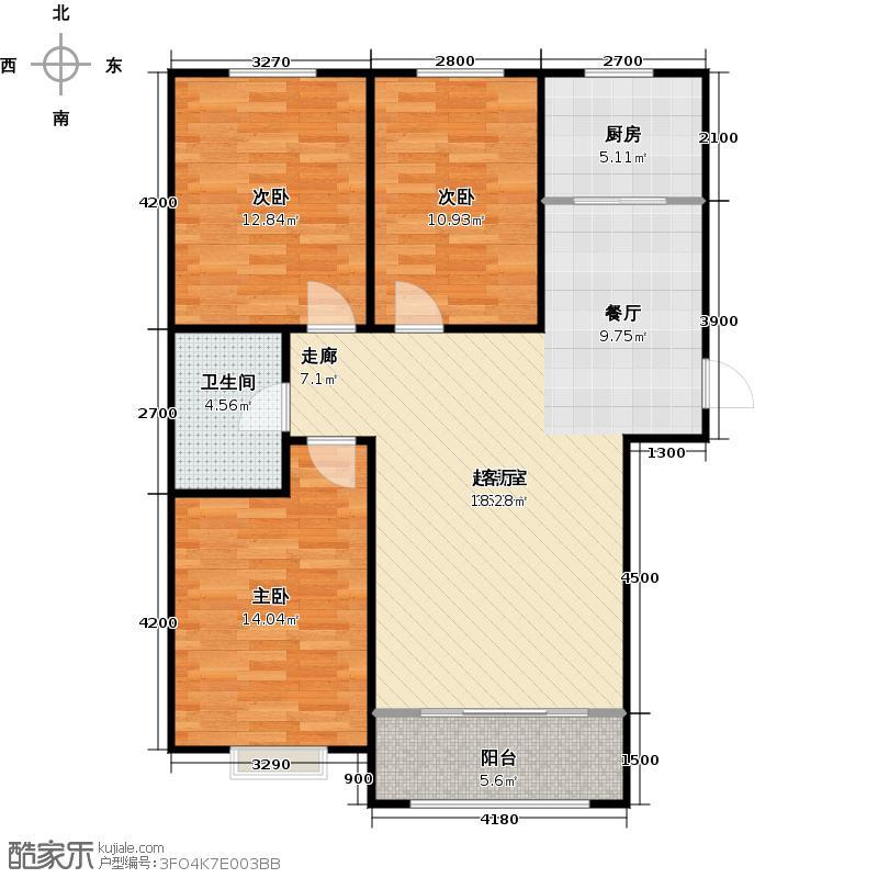 紫煜臻城111.78㎡B3户型3室2厅1卫