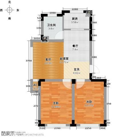 绿地・国际花都2室0厅1卫1厨76.00㎡户型图