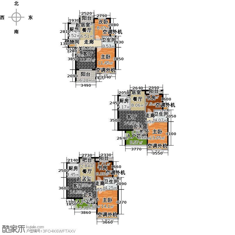 绿地蓝海庭(绿地东岸涟城一期)H3-c、d、e三房型分别面积约为88、78、76户型