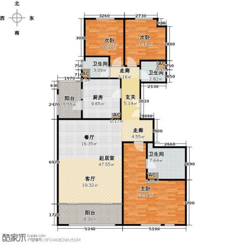 翠湖天地御苑3室0厅3卫1厨141.07㎡户型图