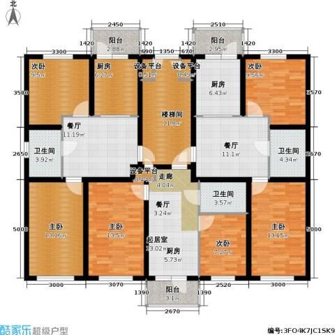 联通名苑6室2厅3卫2厨214.00㎡户型图