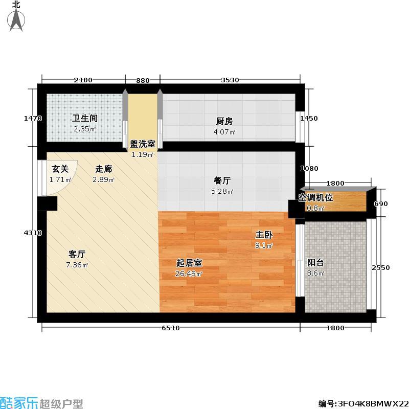 壹线国际56.00㎡J户型一室一卫户型