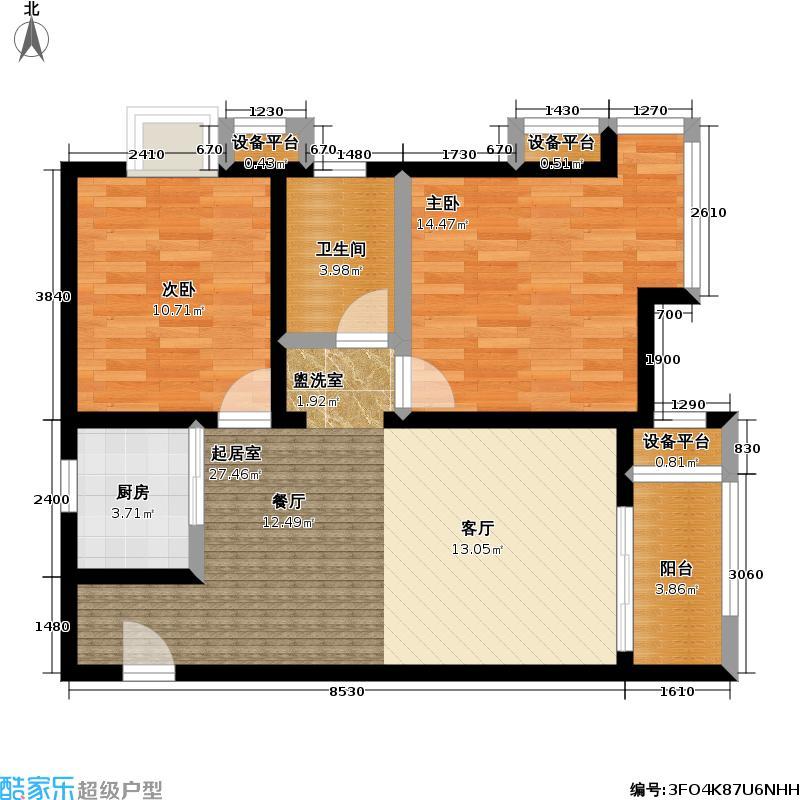 江南水郡77.46㎡F4两室两厅一卫户型