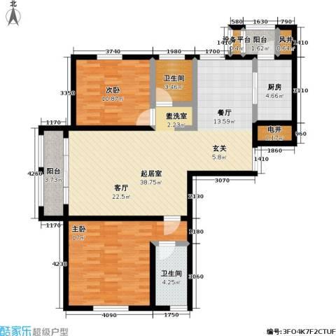 世纪梧桐公寓2室0厅2卫1厨120.00㎡户型图