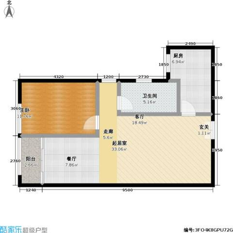 东杉国际1室0厅1卫1厨67.00㎡户型图