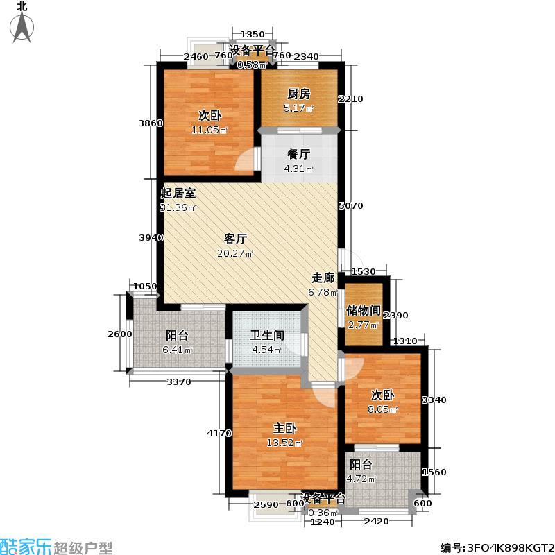 江南水郡103.45㎡R2户型三室两厅一卫户型
