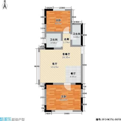 渤海玉园2室1厅2卫0厨86.00㎡户型图