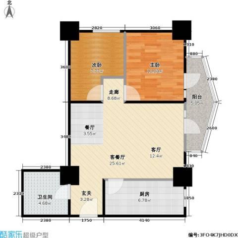 新世纪广场2室1厅1卫1厨83.00㎡户型图