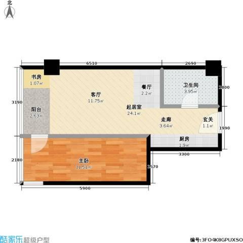 东杉国际1室0厅1卫0厨44.19㎡户型图