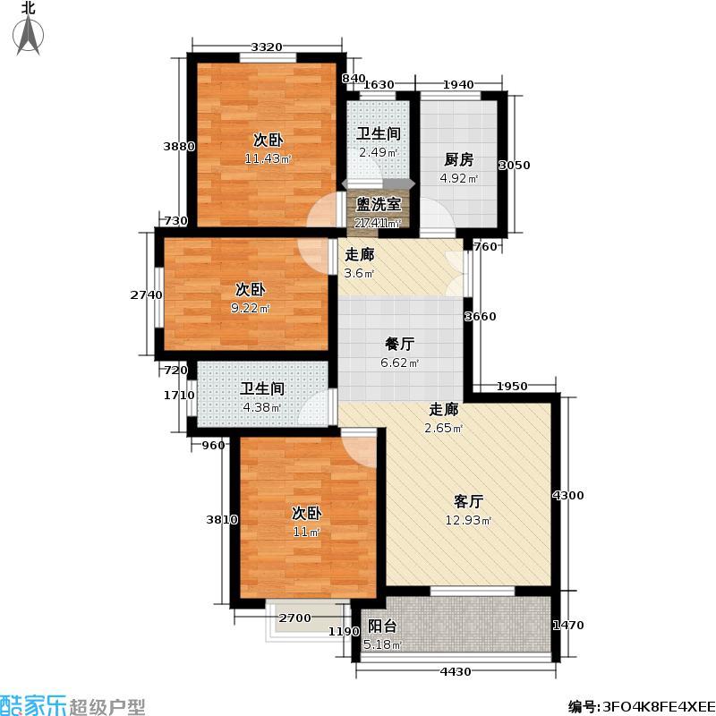 天轩湖畔三室两厅两卫 121.36平米户型
