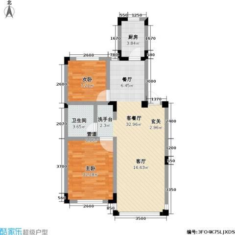 渤海玉园2室1厅1卫1厨85.00㎡户型图