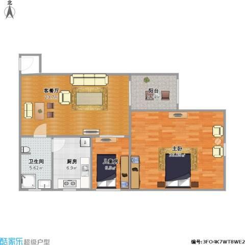 维科格兰花园2室1厅1卫1厨100.00㎡户型图