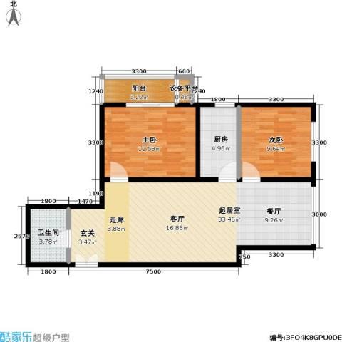 东杉国际2室0厅1卫1厨76.70㎡户型图
