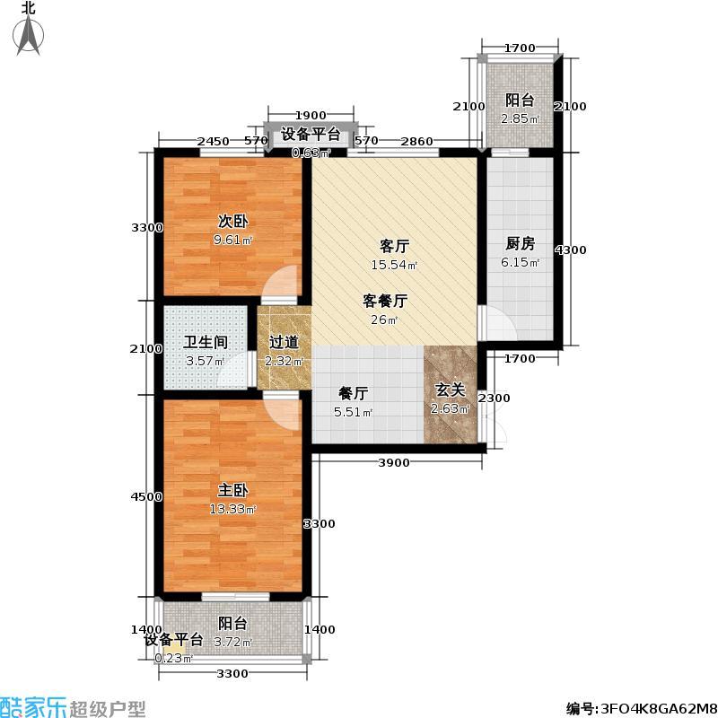 圣德府邸户型2室1厅1卫1厨
