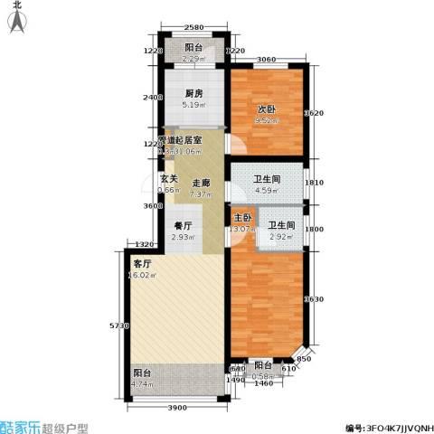 联通格林小镇2室0厅2卫1厨79.90㎡户型图