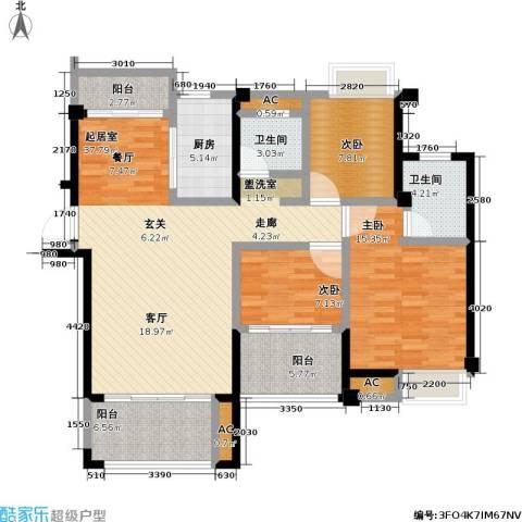 禹洲城上城3室0厅2卫1厨116.00㎡户型图