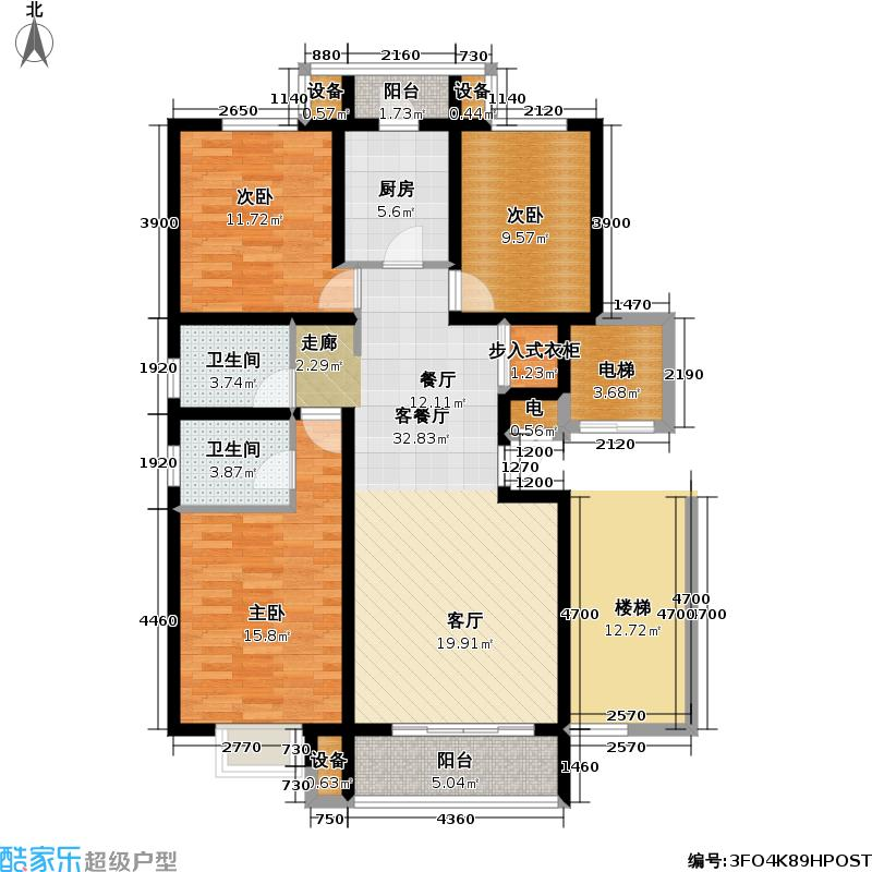 鼎兴华府122.61㎡B3户型 三室两厅两卫户型3室2厅2卫