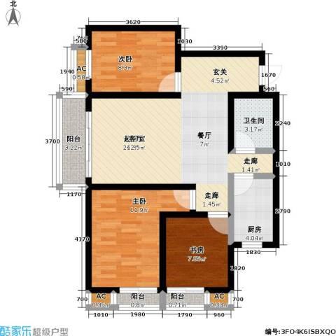 盛世桃城3室0厅1卫1厨101.00㎡户型图