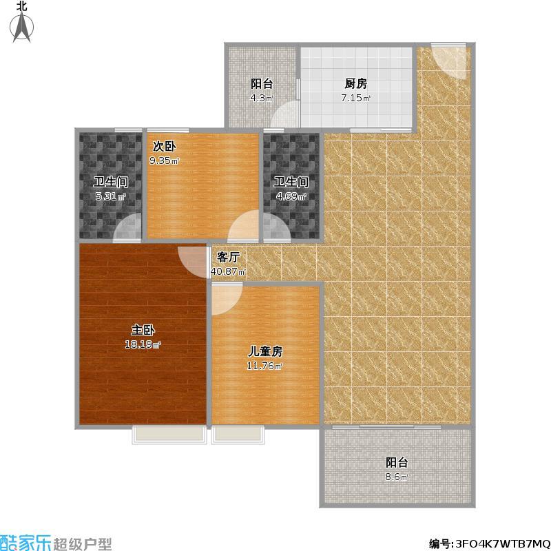 城市美林123方03户型两室两厅两卫