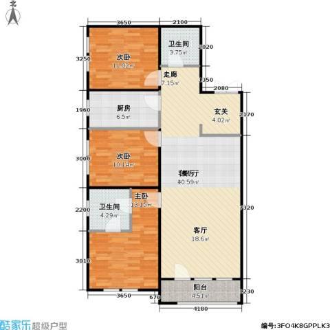花园小区3室1厅2卫1厨129.00㎡户型图
