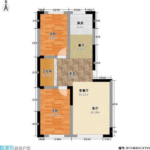 九新雾凇水岸2室1厅1卫0厨85.00㎡户型图