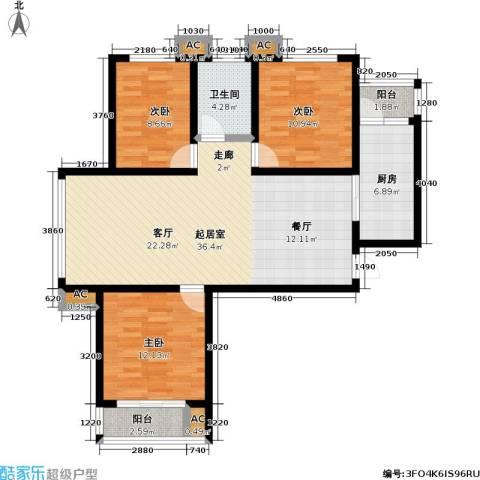 盛世桃城3室0厅1卫1厨124.00㎡户型图