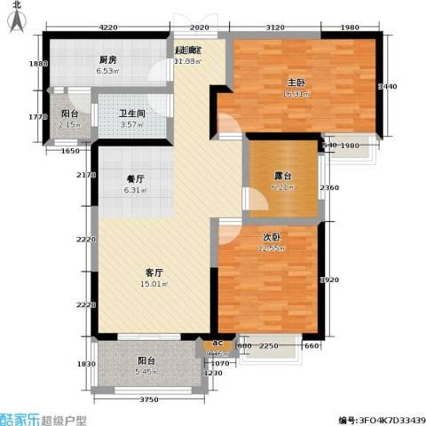 君河湾2室0厅1卫1厨124.00㎡户型图